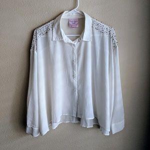 Beaded oversize sheer boxy button up shirt top